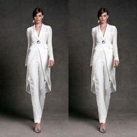 Elegante Mutter der Brautkleider mit Jacke für Hochzeit V Hals Mutter's formale Hose Anzug Langarm Perlen Formale Abendkleid