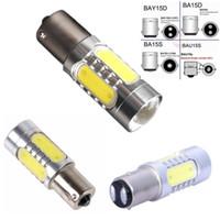 S25 1157 P21 / 5W BAU15D LED لمبات مع العارض 7.5W COB LED لمبة أصفر أبيض أحمر السيارات بدوره الفرامل مصابيح احتياطية ضوء 12V