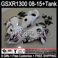 8Gifts röda flammor för Suzuki Hayabusa GSXR1300 08 15 GSXR-1300 14MY179 GSXR 1300 GSX R1300 08 09 10 11 12 13 14 15 Glans White Fairing Kit