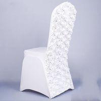Nueva llegada Cubiertas de silla de Spanin Spandex Universal Satin Spandex con flor de satén en la espalda para banquete de fiesta de bodas