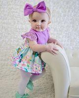 Nouveau-né bébé filles vêtements sans manches dentelle fille barboteuse mode robe rose bleu douce Jumpsuit + mignon bandeau fleur kawayi tenue en gros