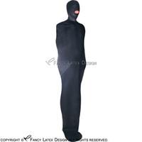 Sommeil Sexy latex noir Sac zippés à capuche à l'arrière Bondage caoutchouc Body Bag fétichiste Bodybag LTY-0002