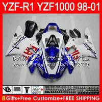 8Gift 23Farbe Körper für YAMAHA YZF1000 YZFR1 98 99 00 01 YZF-R1000 weiß blau 61HM7 YZF 1000 R 1 YZF-R1 YZF R1 1998 1999 2000 2001 Verkleidung