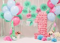 7x5ft ребенок 1-й день рождения Фотографии фона цветы воздушные шары милый новорожденный детский душ фон для фото студия
