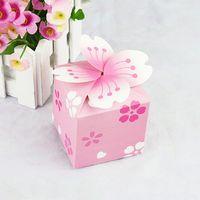 Toptan Satış - 50 Açık Pembe Çiçek Düğün DIY Kağıt Hediye Takı Şeker Kutusu
