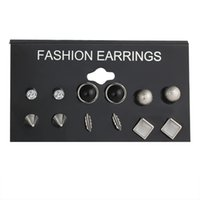 6pairs mix 1 Set Fashion Hot Rhinestone Zirconia Stainless S...