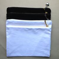 12 Unzen schwarz / weiß Baumwolle Leinwand Make-up Tasche mit Gold / Silber-Reißverschluss und farblich passend Futter leere Kosmetiktaschen Kulturbeutel