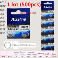 500 pz 1 lotto AG11 LR721 162 361 362 362A SR721 L721 LR58 1.55 V batterie a bottone alcalino batteria a bottone Spedizione gratuita