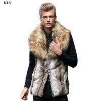Wholesale- Luxuxmann Faux-Pelz-Weste England-Art-Mann-Winter-warme Jacke Pelz-Kragen-Strickjacke-Mantel-Jungen Lange Weste Gilet Dec6