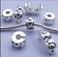 Avrupa kolye gümüş kaplama kasa kilidi Boncuk Emniyet tıpa Boncuk alaşım Gevşek Konumlandırma düğmesi Charms Fit Bilezikler kolye AKSESUARLA