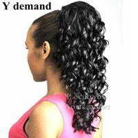 Черный Длинные Поддельные хвостики Мода Аксессуары для волос Extensions Elegant завитого хвостик волосы шт коготь Ложный спрос Наращивание волосы Y
