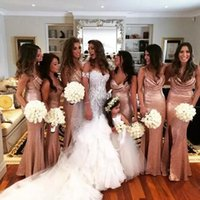 Rose Gold Sequins Mermaid Bridesmaid Dresses 2017 Scoop Neck...