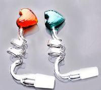 Bols en verre d'hélix de verre coloré de Bangers de coeur pour la plate-forme pétrolière de bongs en verre