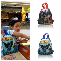 Min Order10PCS Batman Children Cartoon Drawstring Backpacks School Bags 3427CM Kids Best Birthday Gift Shopping Party Free Shipping