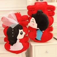 Almohada grande grande de la palabra de la felicidad, muñeca de China presione una muñeca para los regalos de la boda, suministros de la boda de la boda almohada creativa de los pares