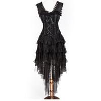 Vintage New Women Fashion Black Ruffle and Ribbon Halterneck Corset con capas Hi-lo Skirt Daincing Costume Party Dress para Ghost Bridal