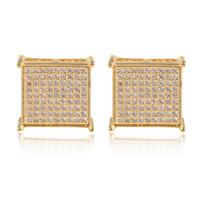 2017 nouvelle mode Homme femmes Studs en or jaune rempli de Zircon cubique diamant Micro Pavé carré boucles d'oreilles de mariage bijoux