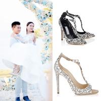 Zapatos de boda con diamantes peep punta abierta Bombas Sandalias de gladiador de tacón con piedras preciosas Diamante de imitación de cristal Adornado T Correa Zapatos de fiesta de verano