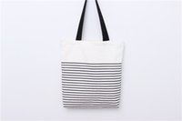 Promotion fashion With Stripe Shopping Tote Cotton Canvas Ba...