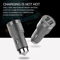 Dual 2-Port USB Car Charger Aluminiumlegierung Sicherheits-Hammer für Handy Samsung S7 S8 plus