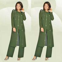 Verte Plus Taille Mère du pantalon de mariée costume avec une veste longue pour mariages de mariée de mariée de mariage robe d'invité de mariage