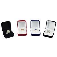 الجملة 6PCS عرض المجوهرات مربع أحمر أسود أزرق منعت الدائري مجوهرات المنظم صندوق الطوق حزمة تخزين هدية مربع 5 * 5.8 * 3.5CM