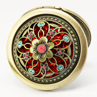 Clásico mosaico de flores espejo redondo bolsillo de canela cosmético espejo compacto Herramientas de maquillaje de dos caras regalo de boda favores
