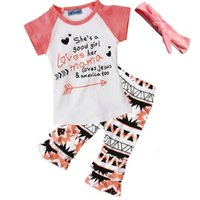 Summer Girls Clothing Set Letter Arrow Printed Short Sleeve ...
