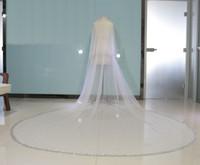 Настоящее изображение Bling Bling бисер двухслойная фата роскошная высококачественная длинная свадебная фата с расческой