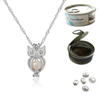 18KGP Pearl Cage Necklace Hollow Owl Shape Oyster Lockets Pe...