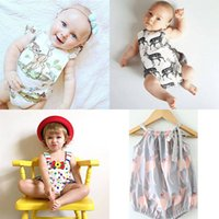 Baby Girls Vest Pagliaccetti Animal Print Cartoon Tute neonato senza maniche 90% cotone Summer Triangle Outfit 6-24M