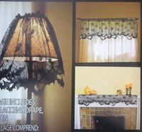 Araña de Halloween web Bat lámpara cortina de la cubierta de la araña negro de encaje cortinas transparentes cenefa Mantle bufandas con cinta 150x50 cm 60x20 pulgadas