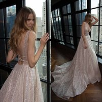 Fabuleux 2019 Berta Robes De Mariée Sexy Plongeant V-cou Dos Nu Brillants Brillants Tissu Robes De Mariée Longues Custom Made China EN4211