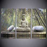 3 pcs HD Pierre imprimé Pierre Bamboo Forêt Bouddha Picture Art mural Toile de la toile Décor Poster Affiche Toile Moderne Huile Peinture