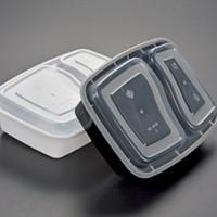 يمكن التخلص منها 900ML مربع من البلاستيك للأغذية 2 حجرة الطعام الغداء التخزين Holoder 2 الألوان أخرج علبة أدوات المائدة