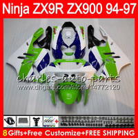 8Gifts 23colors Para KAWASAKI ZX 9 R ZX9R 94 95 96 97 900cc 49HM10 verde blanco ZX 9R ZX900 ZX900C ZX9R 1,994 1,995 1,996 1,997 kit de carenado