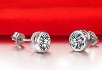 Envío gratis rápido 18 K oro blanco plateado 1 CT Sona pendientes de diamante sintético para las mujeres boda de alta calidad nupcial de plata esterlina