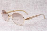 High-End Round Diamond Óculos de Sol 7550178 Quadro Natural Ângulo Branco Espetáculo Espetáculo Óculos de Sol Homens Óculos Óculos Tamanho: 57-22-135mm