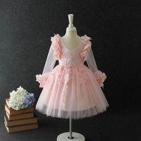 Niñas vestidos de encaje niños bordado floral manga larga princesa fiesta ropa niño estéreo pétalo tulu tutu vestido vestido bola bola A00035