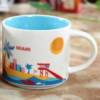 14 Unzen Kapazität Keramik Starbucks Stadt Becher Amerikanische Städte Beste Kaffeetasse Tasse mit Original Box Miami City