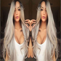 Synthetic Lace Front Wig Long Straight Grey Lace Front Wig O...