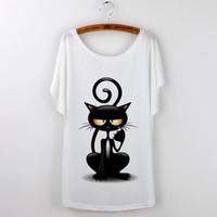 Toptan-2016 Tops Kadın T-shirt Harajuku Kedi Baskı Komik T Shirt Kadın Kısa Kollu kawaii Tee Gömlek Femme Artı Boyutu Beyaz Tumblr Tshirt