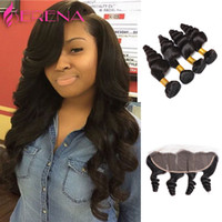 13x4 Swiss Lace Frontal Closure With 4 Bundles 100% Brazilia...