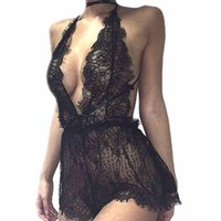 Wholesale Women Ladies Mesh Lace Sleepwear Sexy V Neck Eroti...