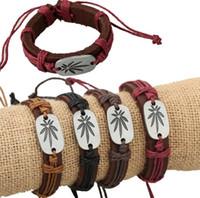 Новое поступление Новый плетеный сплав кленовый лист кожаный браслет кожаный браслет FB073 заказ смешивания 20 штук много браслеты Шарм