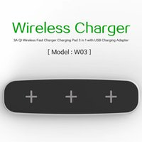 3A Qi Wireless Fast Charger Phone Charging Pad 3 in 1 Wirele...