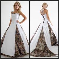 빈티지 Camo A 라인 웨딩 드레스 고삐 목 레이스 Appiques 플러스 사이즈 Vestidos De Novia Country Garden Bridal Gown Wedding Gowns