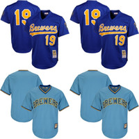 Men' s Milwaukee Brewers Throwback Jersey 19 Robin Yount...