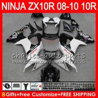 8Gifts 23Colors Körper für Kawasaki ZX 10 R ZX10R 08 09 10 47HM10 weiß schwarz ZX 10R ZX1000 C ZX1000C ZX10R 2008 2009 2010 Verkleidungs-Kit