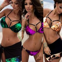 Women Sequin Bikini Sets Halter Swimsuit Bandage Suit de banho Ladies Sparkly Swimwear